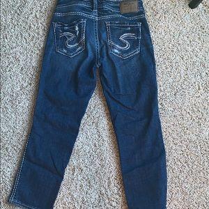 Silver crop jeans